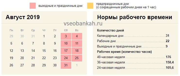 Сколько рабочих дней в августе 2019 года