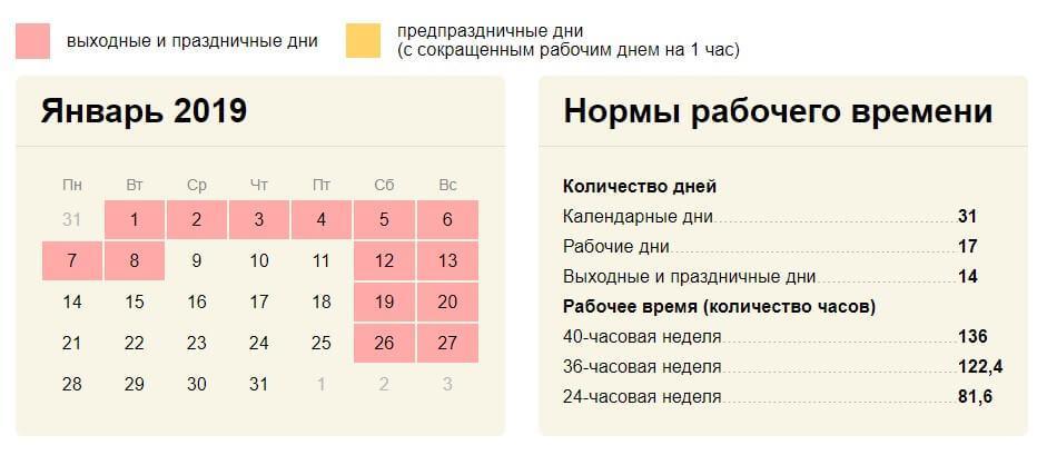 Производственный календарь январь 2019