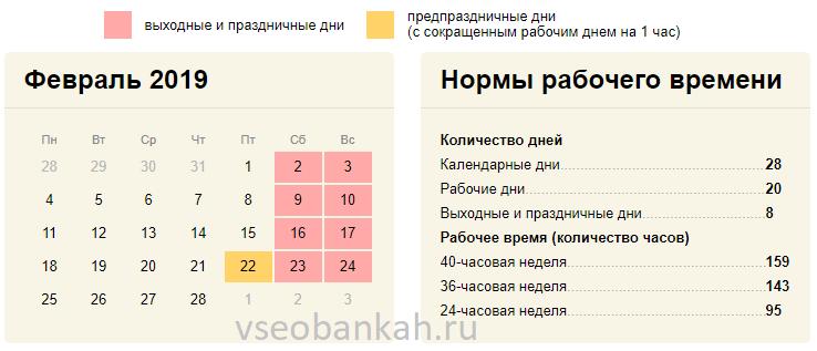 Сколько рабочих дней в феврале 2019 года