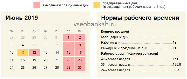 Сколько рабочих дней в июне 2019 года
