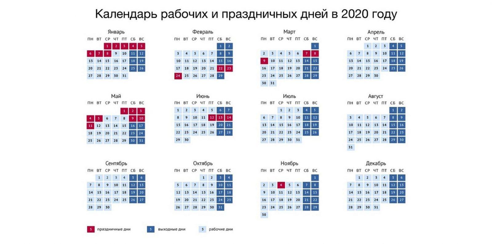Выходные в 2020 году: календарь