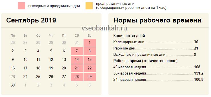 Производственный календарь сентябрь 2019